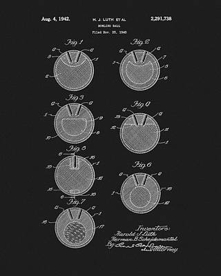 Mixed Media - 1942 Bowling Ball Patent by Dan Sproul