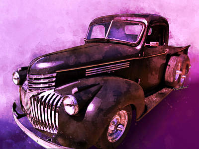 Digital Art - 1942 Chevy Vent Window Pickup Watercolour Illustration by Chas Sinklier