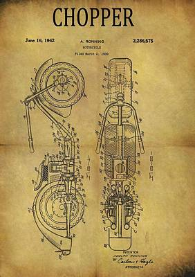 Mixed Media - 1942 Chopper Motorcycle Patent by Dan Sproul
