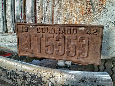 Photograph - 1942 Colorado Plate by Tony Baca
