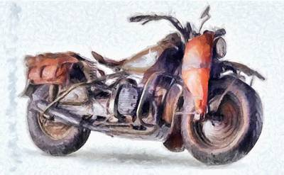 Digital Art - 1942 Harley Davidson, Military, 750cc by Caito Junqueira