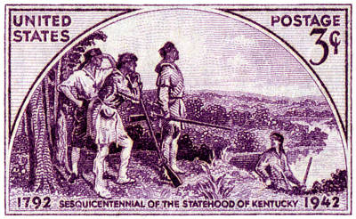 Kentucky Painting - 1942 Kentucky Statehood Stamp by Historic Image