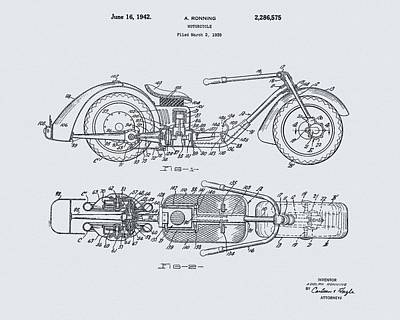 Motorcycle Drawing - 1942 Motorcycle Design by Dan Sproul