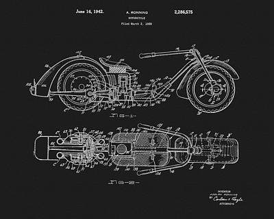 Motorcycle Drawing - 1942 Motorcycle Patent by Dan Sproul