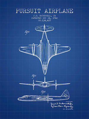 Airplane Drawing - 1942 Pursuit Airplane Patent - Blueprint 02 by Aged Pixel