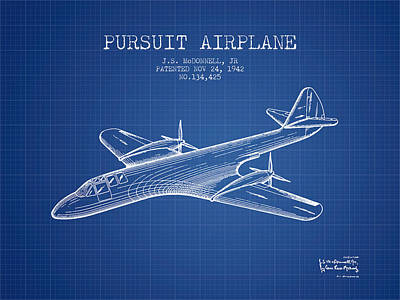 Airplane Drawing - 1942 Pursuit Airplane Patent - Blueprint by Aged Pixel