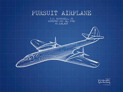 Airplane blueprint prints fine art america 1942 pursuit airplane patent blueprint art print malvernweather Choice Image