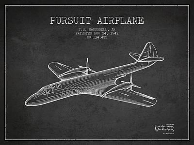 Transportation Digital Art - 1942 Pursuit Airplane Patent - Charcoal by Aged Pixel