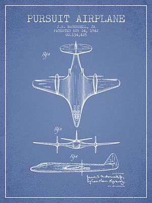 Transportation Digital Art - 1942 Pursuit Airplane Patent - Light Blue 02 by Aged Pixel