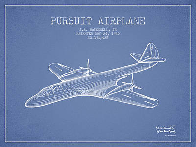 Airplane Drawing - 1942 Pursuit Airplane Patent - Light Blue by Aged Pixel
