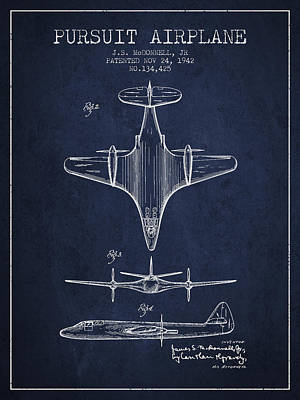 Airplane Drawing - 1942 Pursuit Airplane Patent - Navy Blue 02 by Aged Pixel