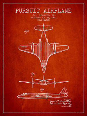 Airplane Drawing - 1942 Pursuit Airplane Patent - Red 02 by Aged Pixel