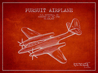 1942 Pursuit Airplane Patent - Red 03 Print by Aged Pixel
