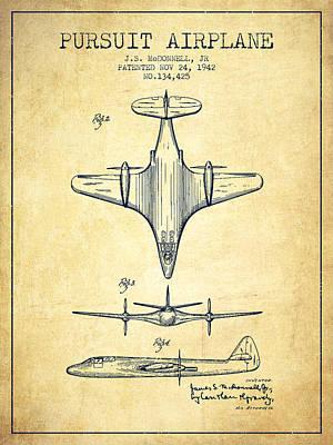 Transportation Digital Art - 1942 Pursuit Airplane Patent - Vintage 02 by Aged Pixel