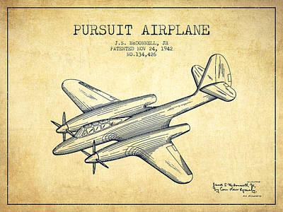 Transportation Digital Art - 1942 Pursuit Airplane Patent - vintage 03 by Aged Pixel