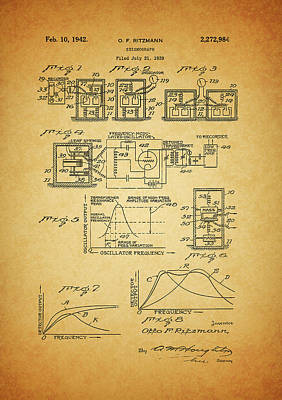 Drawing - 1942 Seismograph Patent by Dan Sproul