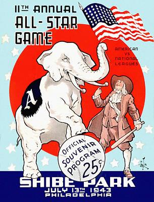 Shibe Park Painting - 1943 Baseball All Star Game Program by Big 88 Artworks