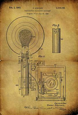 Vintage Camera Drawing - 1943 Camera Flash Patent by Dan Sproul