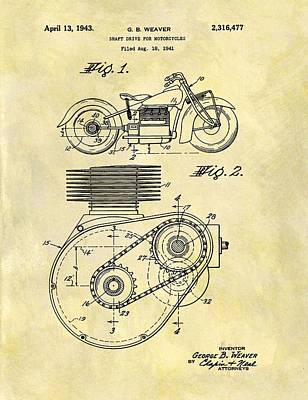 Motorcycle Drawing - 1943 Indian Motorcycle Patent by Dan Sproul