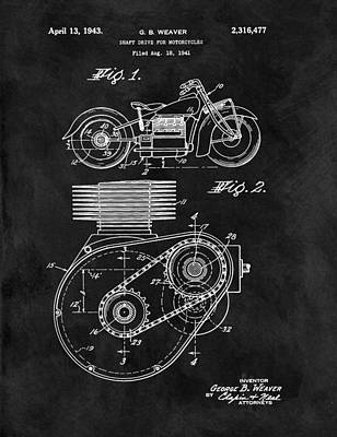 Motorcycle Drawing - 1943 Motorcycle Drive Shaft Patent by Dan Sproul