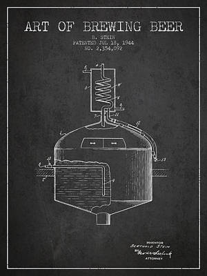 1944 Art Of Brewing Beer Patent - Charcoal Art Print by Aged Pixel