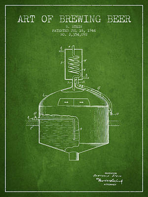 Beer Royalty-Free and Rights-Managed Images - 1944 Art Of Brewing Beer Patent - Green by Aged Pixel