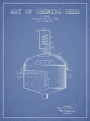 Beer Royalty-Free and Rights-Managed Images - 1944 Art Of Brewing Beer Patent - Light Blue by Aged Pixel