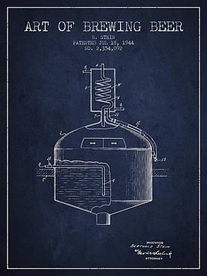 Beer Royalty-Free and Rights-Managed Images - 1944 Art Of Brewing Beer Patent - Navy Blue by Aged Pixel