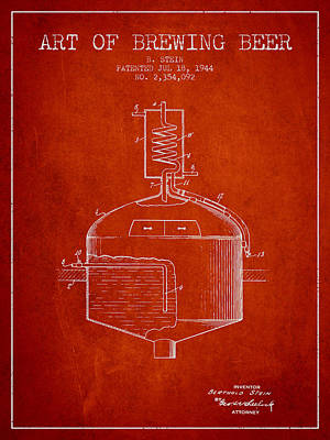 Beer Royalty-Free and Rights-Managed Images - 1944 Art Of Brewing Beer Patent - Red by Aged Pixel