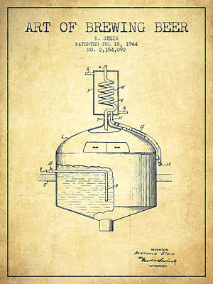 Beer Royalty-Free and Rights-Managed Images - 1944 Art Of Brewing Beer Patent - Vintage by Aged Pixel