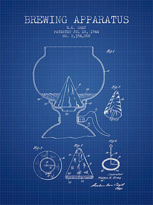 Beer Royalty-Free and Rights-Managed Images - 1944 Brewing Apparatus Patent - Blueprint by Aged Pixel
