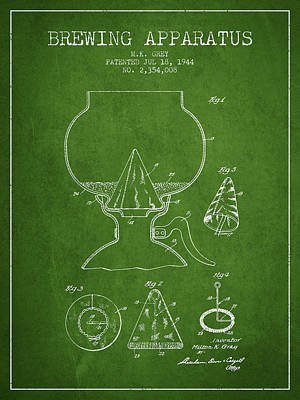 Beer Royalty-Free and Rights-Managed Images - 1944 Brewing Apparatus Patent - Green by Aged Pixel