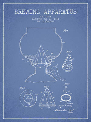 Beer Royalty-Free and Rights-Managed Images - 1944 Brewing Apparatus Patent - Light Blue by Aged Pixel
