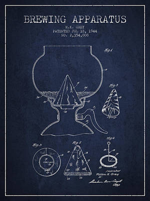 Beer Royalty-Free and Rights-Managed Images - 1944 Brewing Apparatus Patent - Navy Blue by Aged Pixel