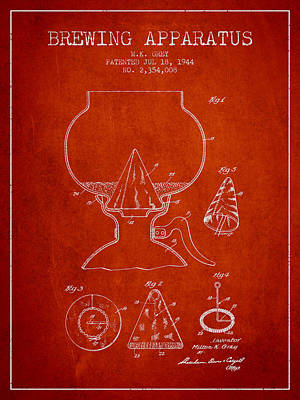 Beer Royalty-Free and Rights-Managed Images - 1944 Brewing Apparatus Patent - Red by Aged Pixel