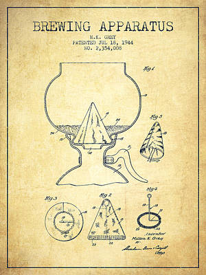 Beer Royalty-Free and Rights-Managed Images - 1944 Brewing Apparatus Patent - Vintage by Aged Pixel
