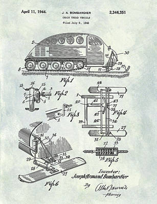 Winter Roads Drawing - 1944 Chain Tread Vehicle Patent by Dan Sproul
