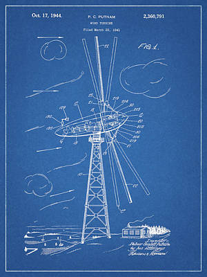 Mixed Media - 1944 Wind Turbine Patent by Dan Sproul