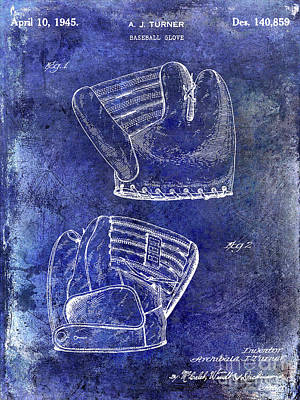 1945 Baseball Glove Patent Blue Art Print