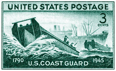 Painting - 1945 Coast Guard Issue Stamp by Historic Image