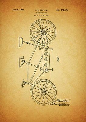 1945 Schwinn Tandem Bicycle Art Print