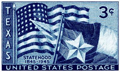 1945 Texas Statehood Stamp Art Print