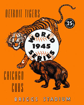 Detroit Tigers Painting - 1945 World Series Program Tigers V Cubs by Big 88 Artworks