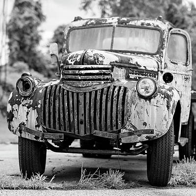 Rusty Old Trucks Photograph - 1946 Chevy Work Truck Front by Jon Woodhams