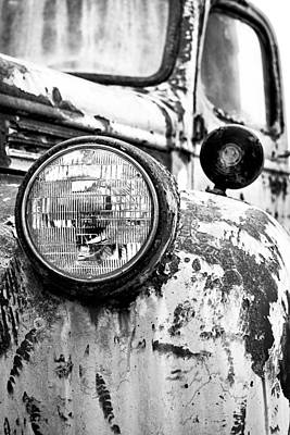Rusty Old Trucks Photograph - 1946 Chevy Work Truck - Headlight Detail by Jon Woodhams