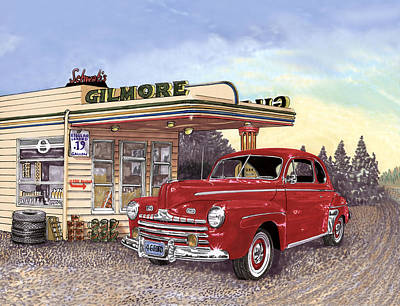 Gas Station Painting - 1946 Ford Deluxe Coupe by Jack Pumphrey