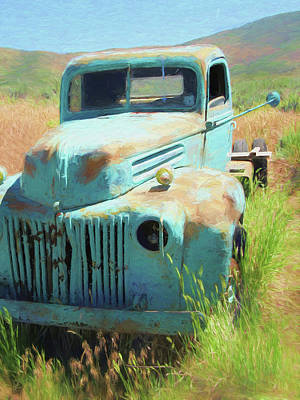 Abandoned Digital Art - 1946 Ford Truck In The Rough by David King