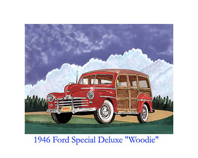 Painting - 1946 Ford Woody by Jack Pumphrey