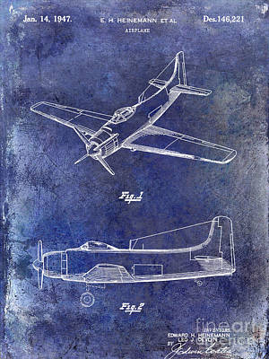 Blue Airplane Photograph - 1947 Airplane Patent Blue by Jon Neidert