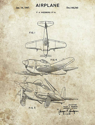 Drawing - 1947 Airplane Patent Design by Dan Sproul
